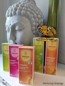 Noch mehr hochwertige Weleda-Öle dekoriert mit Buddha und Schmetterling